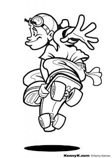 a desenhar as Skatista profissional na ativo   colorir
