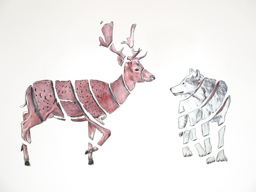 09-Stag-and-Wolf-Jaume-Montserrat-Illustrations-of-Ribbon-Animals-in-Emptyland-www-designstack-co