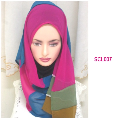 shawl chiffon 4 layer dull peach