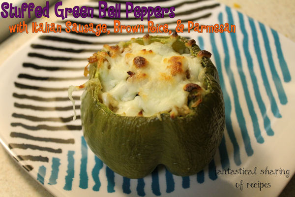 Stuffed Green Bell Peppers with Italian Sausage, Brown Rice, and Parmeson - #maindish #recipe
