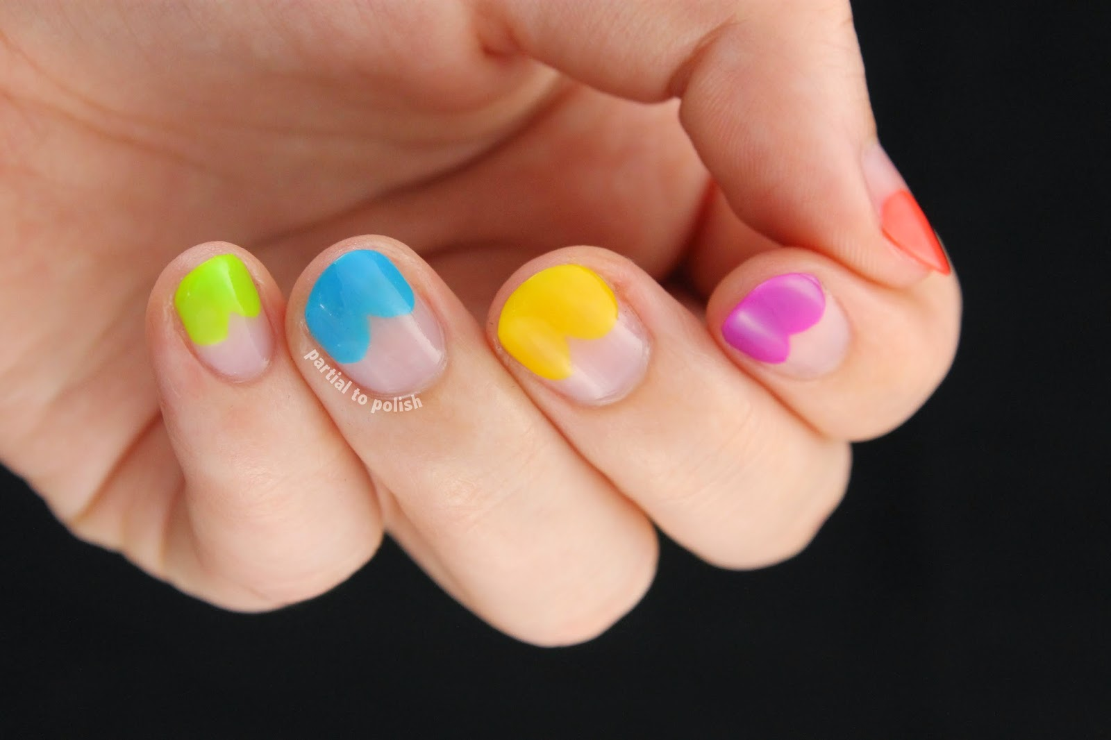Rainbow Half Moon Hearts for Nail Crazy In March