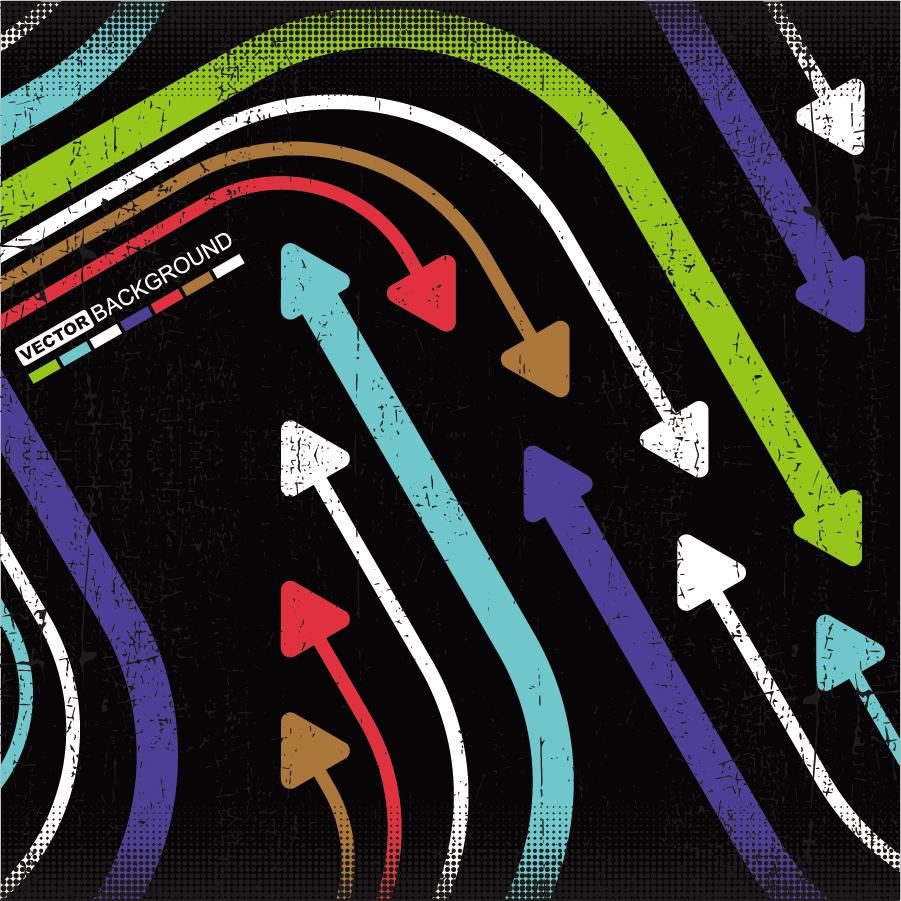 カラフルな曲線の矢印を並べた背景 colorful arrows flow lines background イラスト素材