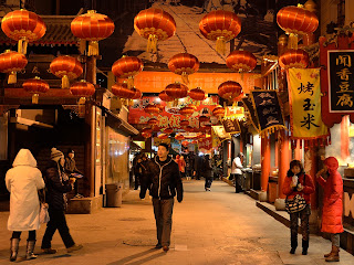 Wangfujing snack street on a cold evening in December