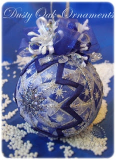 handmade blue and silver snowflake and diamond quilt Christmas ball ornament