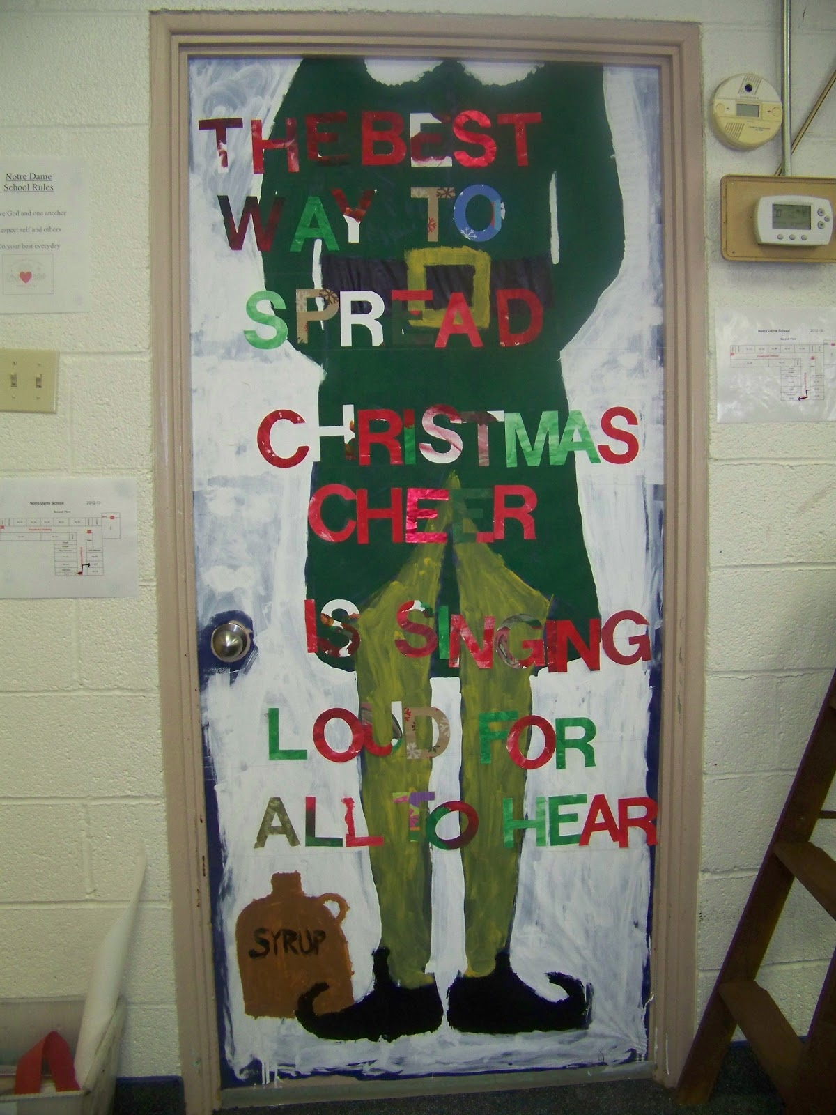 The notre dame school talent show 2013 christmas door for How to decorate apartment door for christmas
