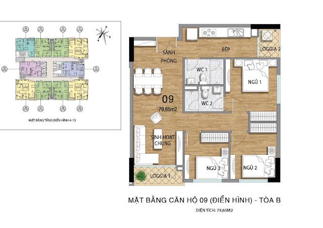 Mặt bằng căn hộ B09 tầng 4-15 dự án Valencia Garden