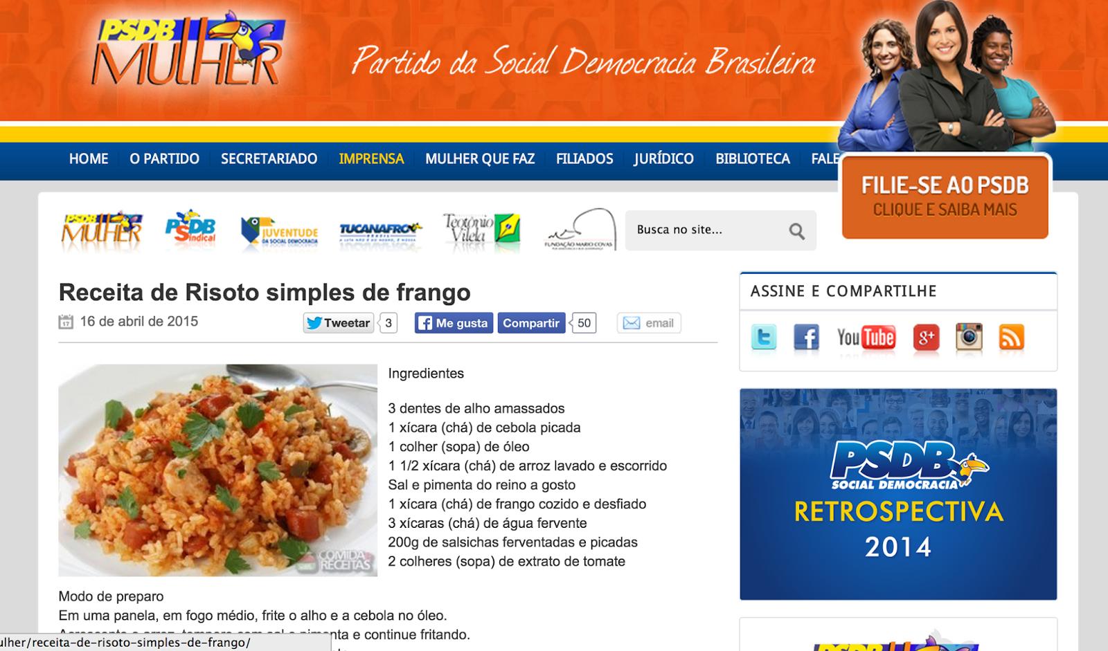 Página do site do PSDB para mulheres ensina culinária; minha amiga aprendeu a fazer coxinha lá