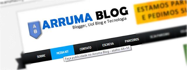 IMAGEM: Use teclas de atalho para acessar link no Arruma blog