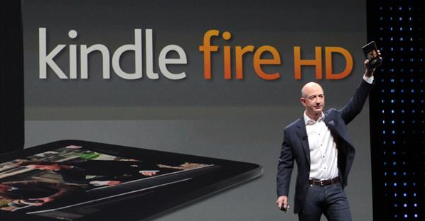 Jeff Bezos with Kindle Fire HD