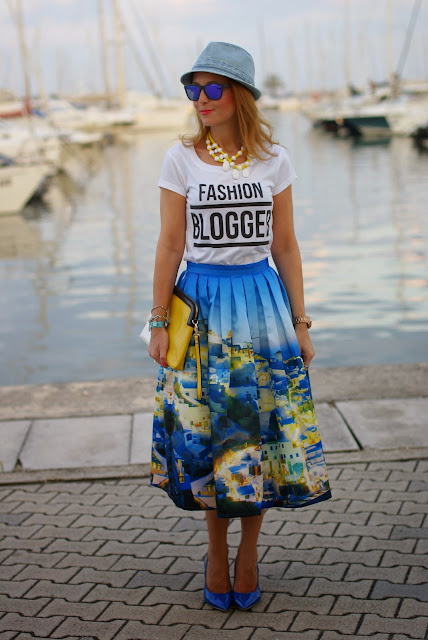 denim hat, fashion blogger t-shirt, santorini skirt, Fashion and Cookies, fashion blogger
