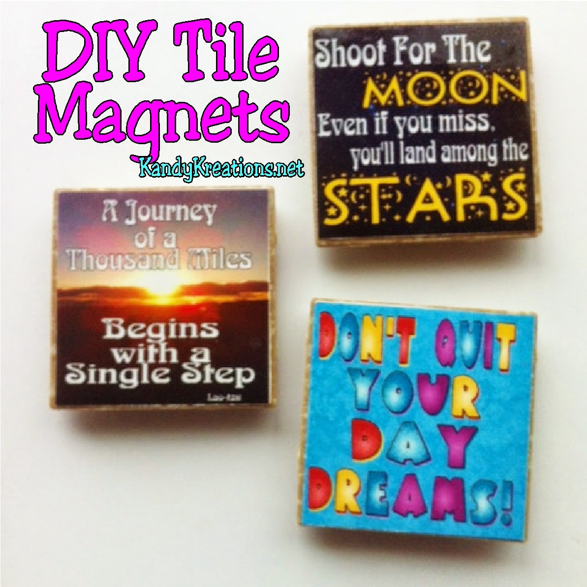 Make your own DIY Tile Magnets in just a few minutes. You can use your favorite quote or instagram pictures for personalized magents for your home.