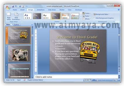 Gambar:  Contoh penggunaan tema tampilan di microsoft powerpoint