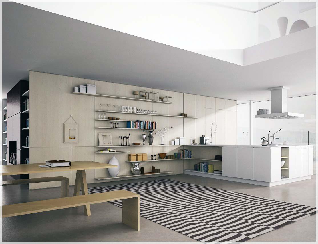 Åpent kjøkken hyller inspirasjon - interiør inspirasjon