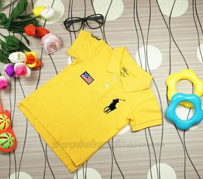 Áo Polo dành cho bé gái - bé trai cực cute màu Vàng