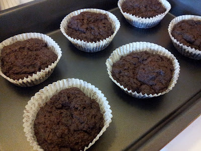 Good looking chocolate muffins on an oven plate.