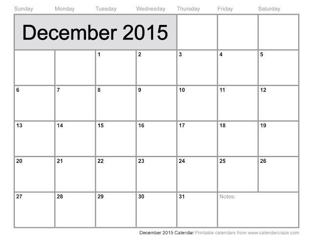 December 2015 Blank Calendar
