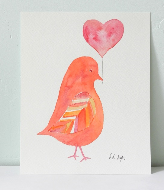 Watercolor Pigeon with Heart Balloon