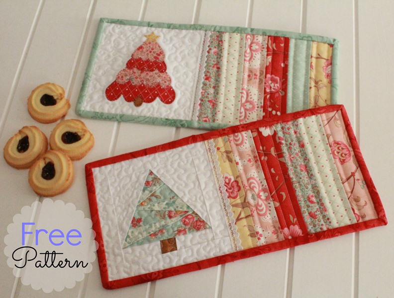 Threadbare Creations Free Pattern Christmas Mug Rugs
