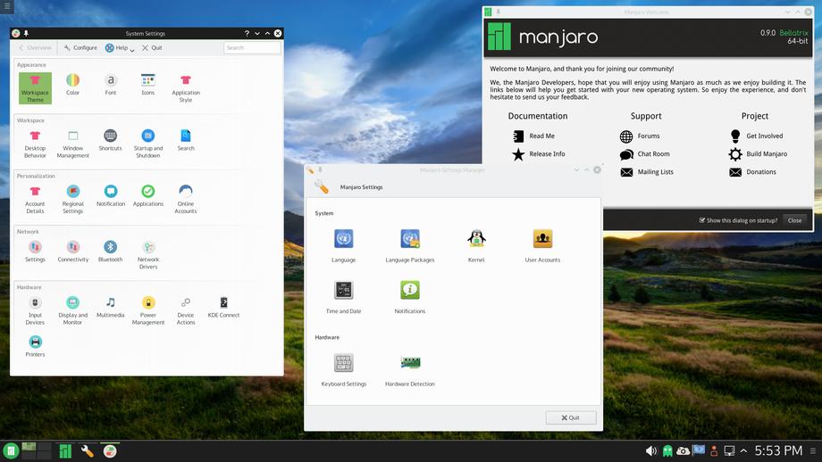 Manjaro KDE 5 0.9.0. PRE1