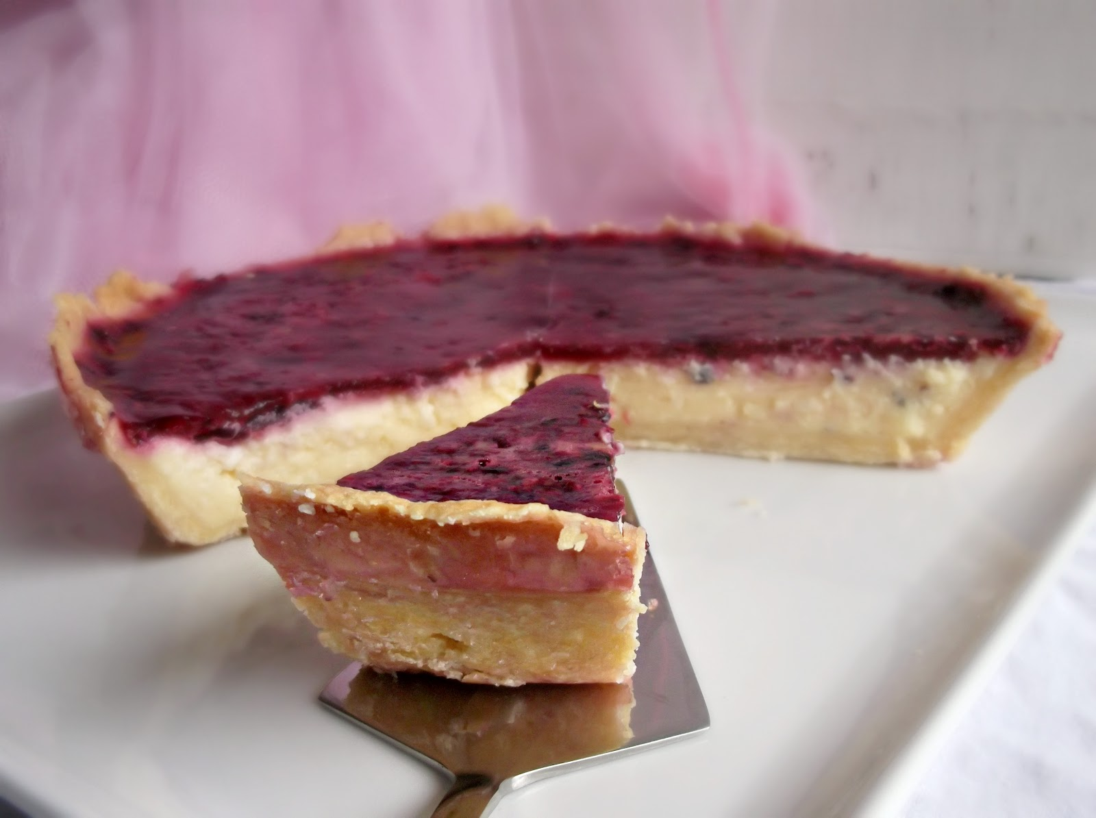 VANILLA BERRY CHEESECAKE TART (Adapted from While He Was Out )