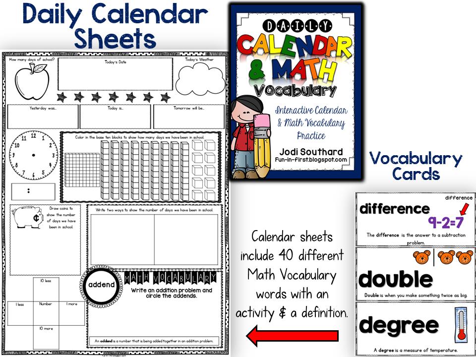 http://www.teacherspayteachers.com/Product/Daily-Calendar-Math-Vocabulary-1376899