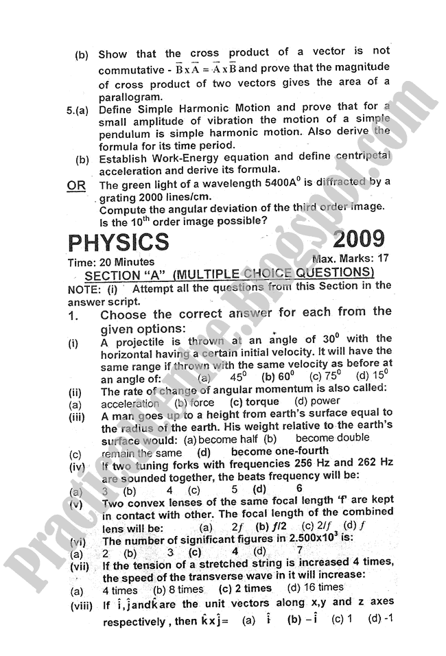 Physics-2009-five-year-paper-class-XI