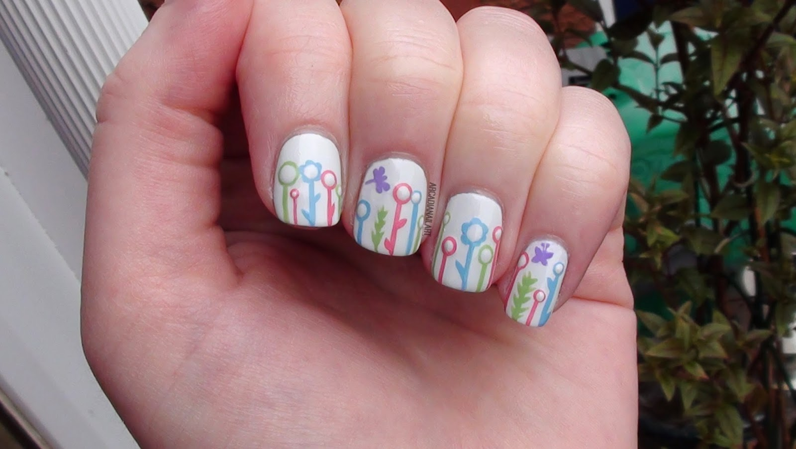 ArcadiaNailArt: Contemporary Flowers in a Garden Nail Art