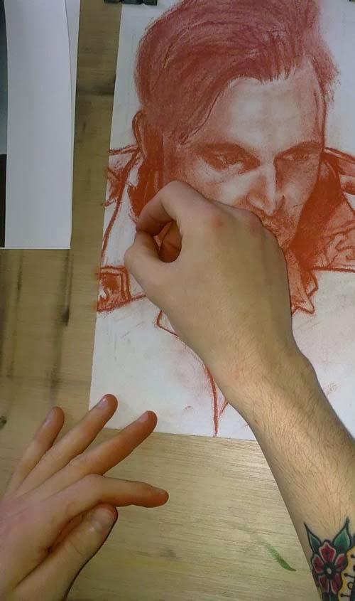 retrato con sanguina de una foto proceso