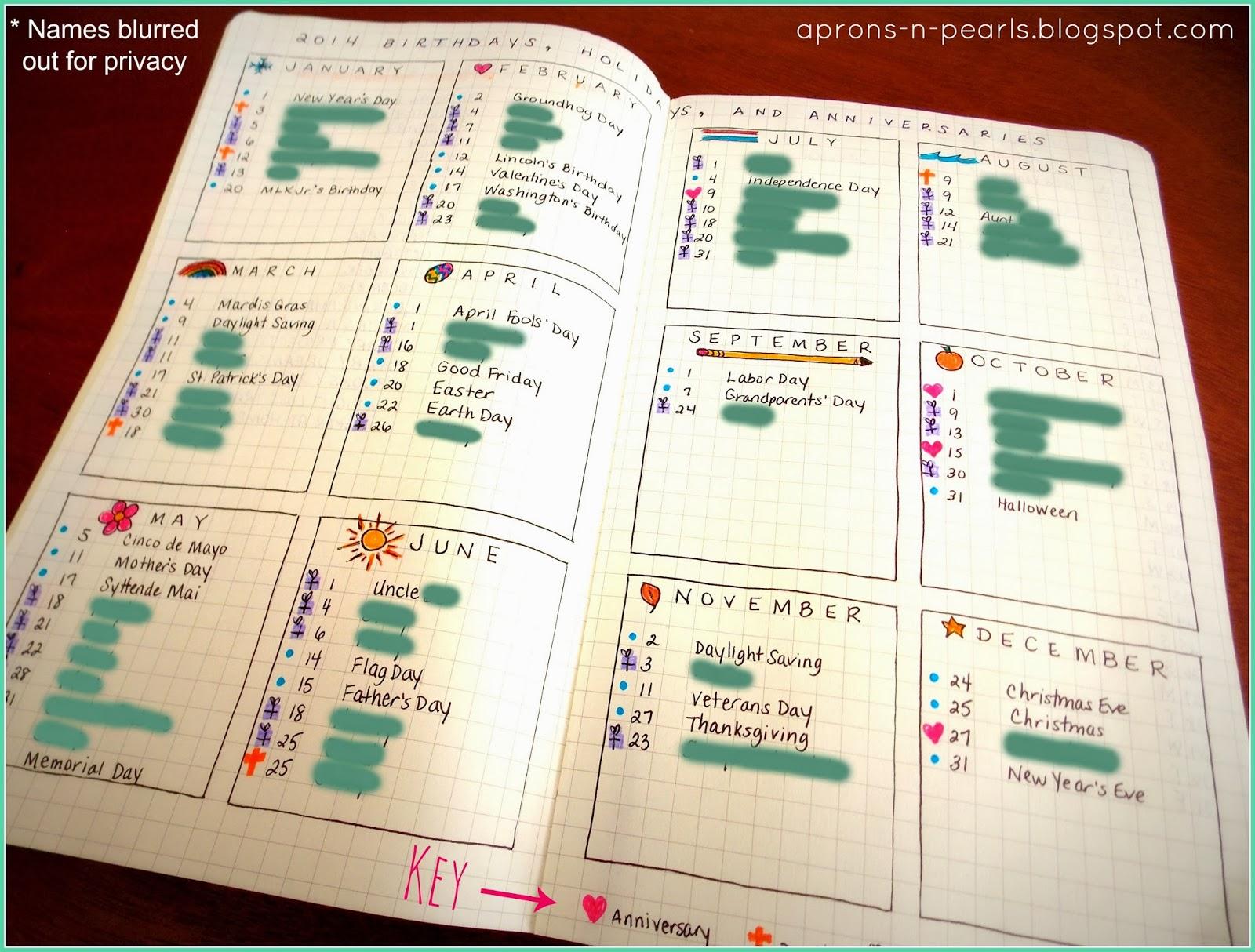 Calendar Planner Journal : A peek into my planner aprons n pearls