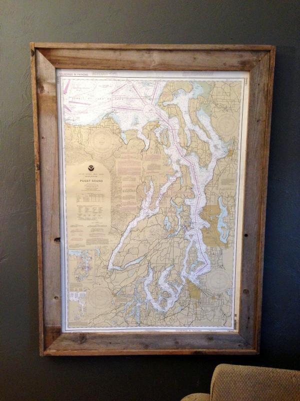 Blue roof cabin diy map nautical chart art