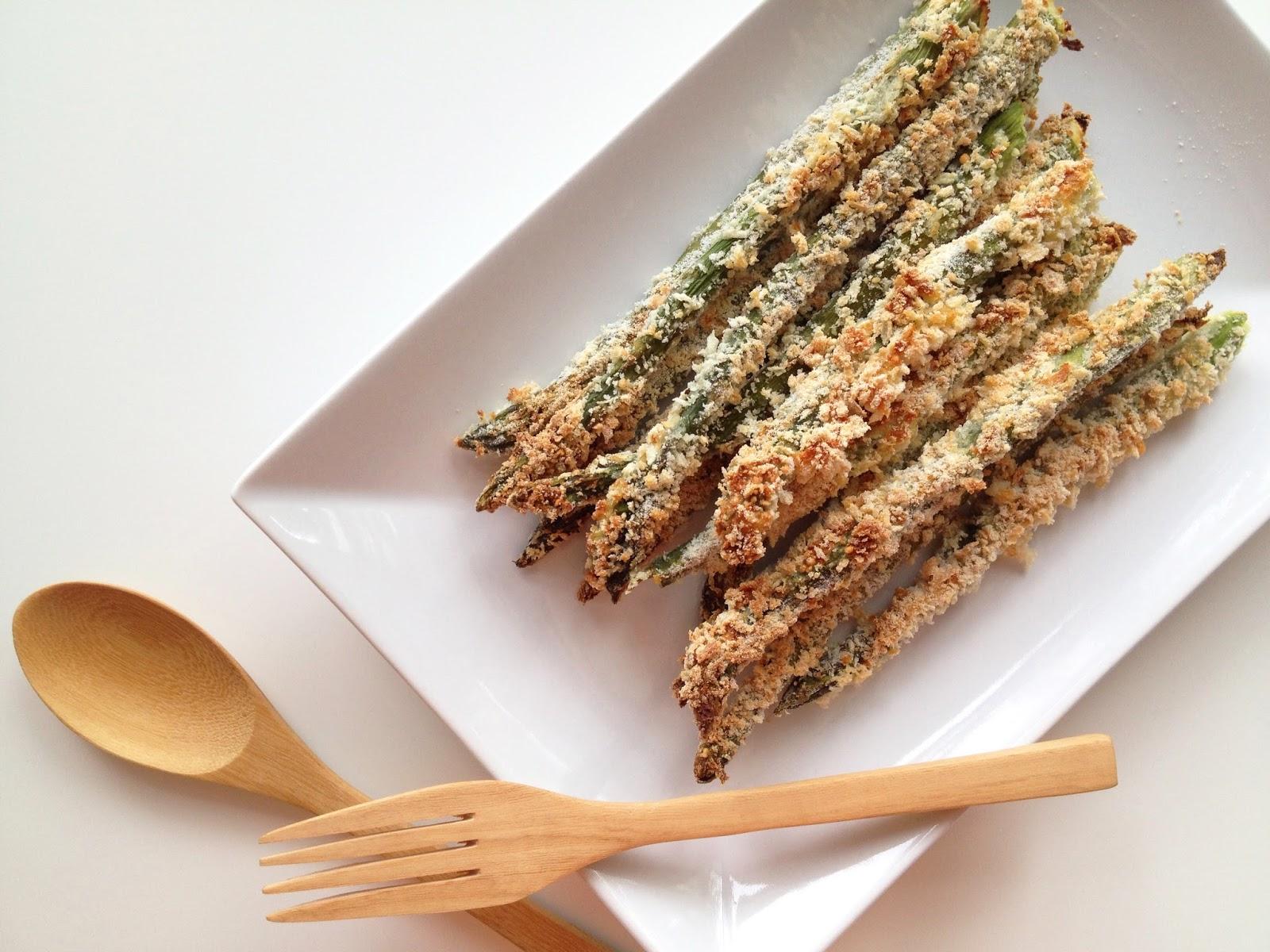 ... asparagus stalks in egg whites, dredge them through a panko parmesan