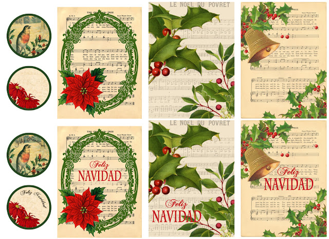 Tarjetas y etiquetas navideñas