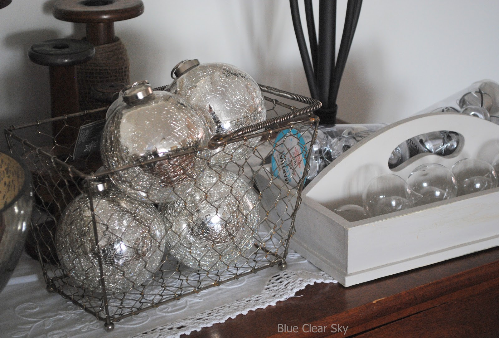 rustic maple christmas decorations and living room theme hints and my favourite find so far these big and heavy mercury glass balls from the debbie travis collection at canadian tire for 4 each
