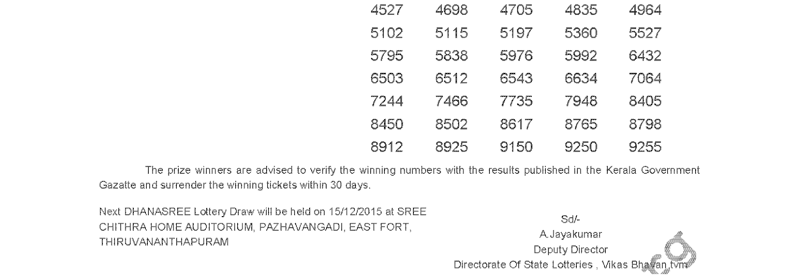 DHANASREE Lottery DS 215 Result 08-12-2015