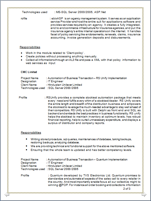 Professional Resume : RESUME OF MCA HAVING 2 YEARS OF EXPERIENCE ...