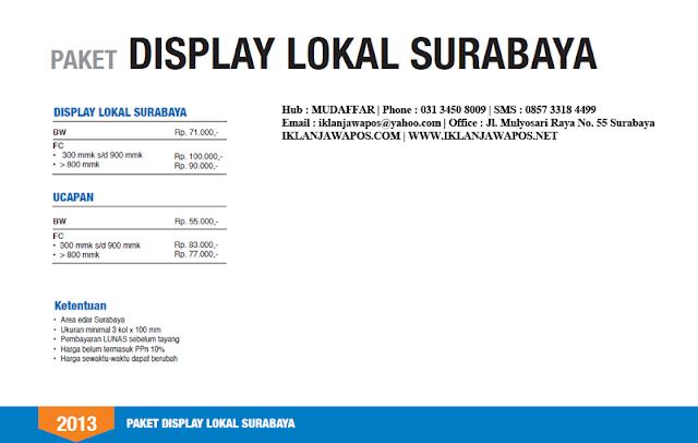 Jawa Pos Iklan Paket Display Lokal Surabaya 2013