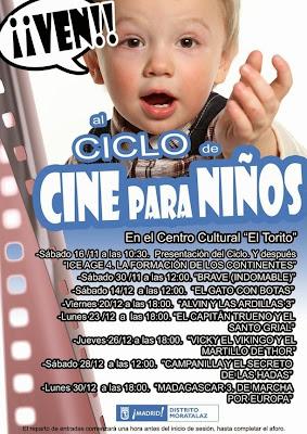 Programa del I Ciclo de Cine para Niños en el Distrito de Moratalaz.