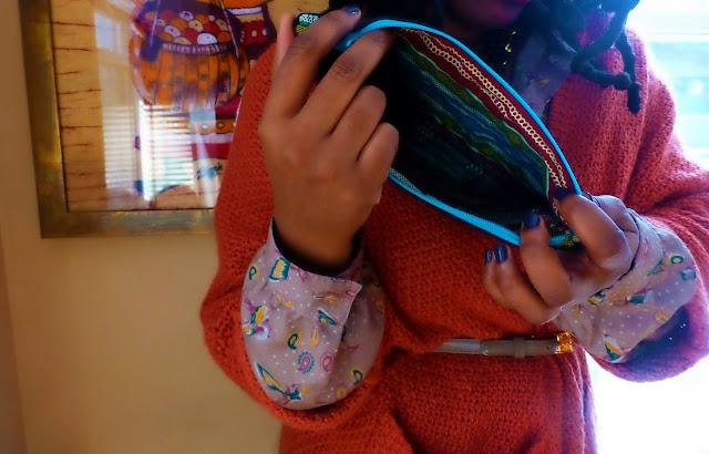 Thriftanista sews a pouch
