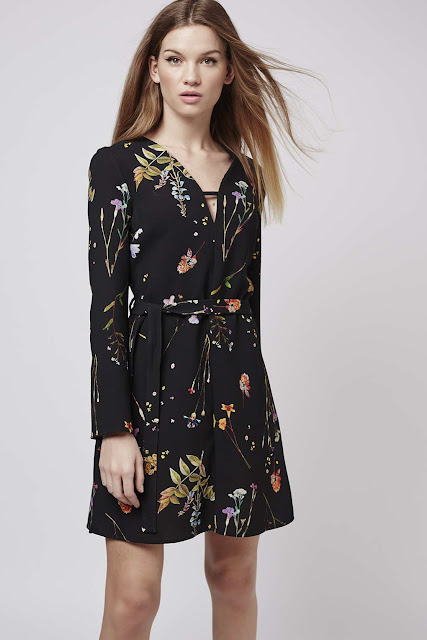 floral t bar dress, black flower print tea dress