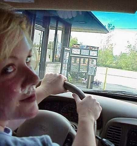 Drive-through with cum on her face
