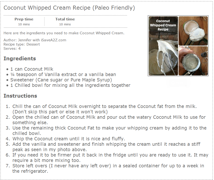 Healthy alternative to Whipped cream