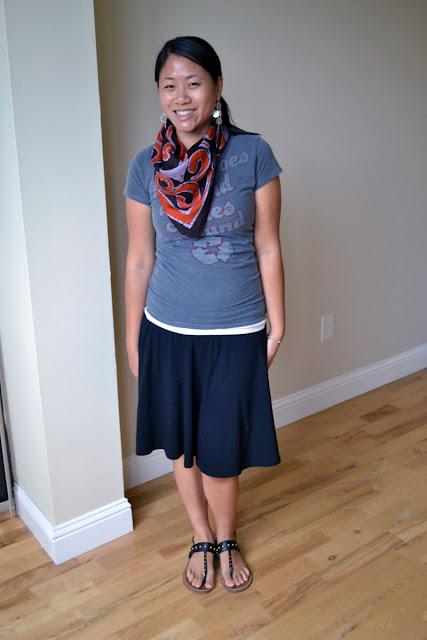 miami fashion blogger angeline evans vintage scarf old navy skirt gap sandals