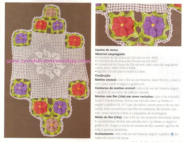 10 flores em croche para o centro de mesa em croche com receitas