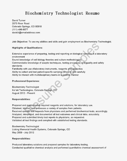 Great Sample Resume Resume Samples Biochemistry