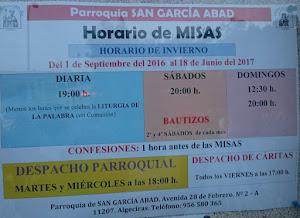 HORARIO DE MISAS Y DESPACHO PARROQUIAL