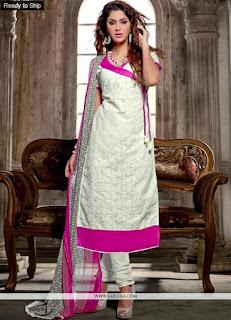 White Chanderi Cotton Suits / Elite Georgette White Embroidered Dresses