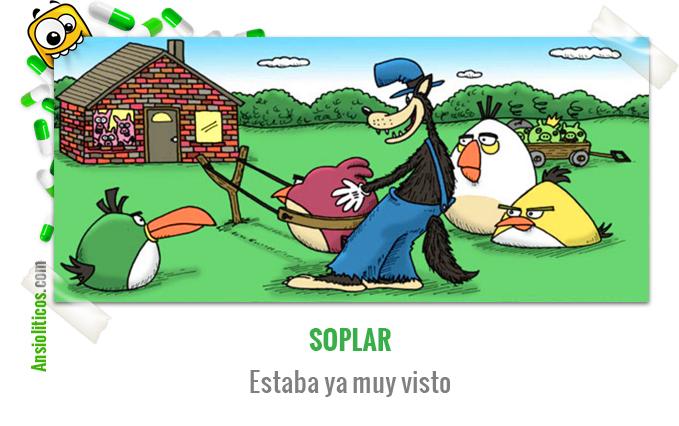 Chiste de Videojuegos con los Angry Birds y el Lobo Feroz de los Tres Cerditos