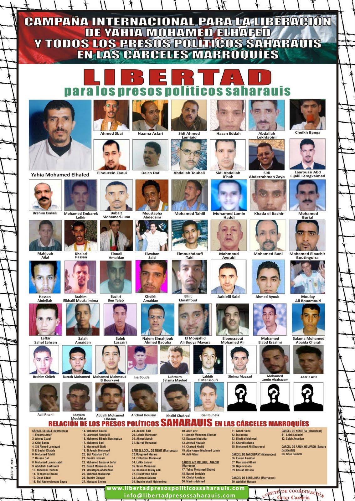 Liste actualisée des prisonniers politiques sahraouis incarcérés au Maroc