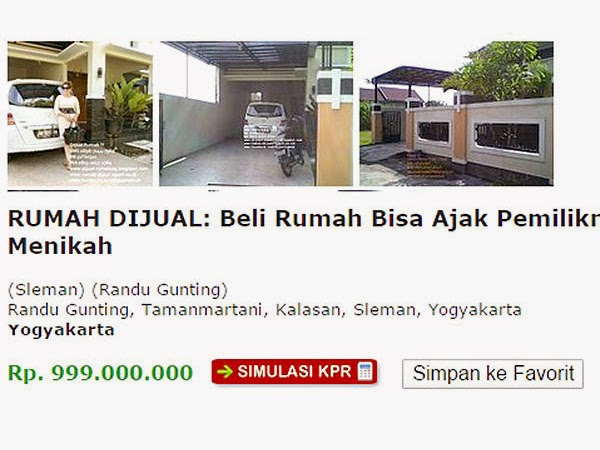 Wife free for buying house advertisement in Indonesia