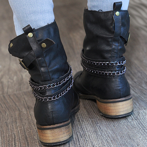 Chain Wrap Around Boots